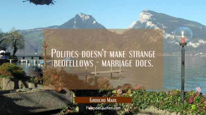 Politics doesn't make strange bedfellows - marriage does.