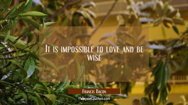 It is impossible to love and be wise