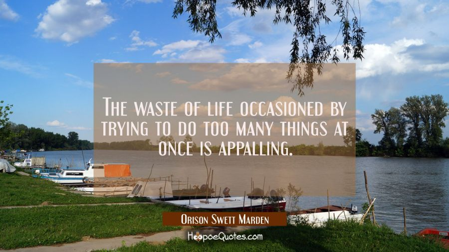 The waste of life occasioned by trying to do too many things at once is appalling. Orison Swett Marden Quotes