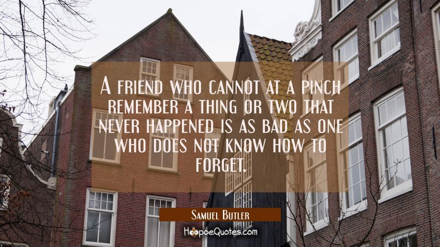 A friend who cannot at a pinch remember a thing or two that never happened is as bad as one who doe Samuel Butler Quotes