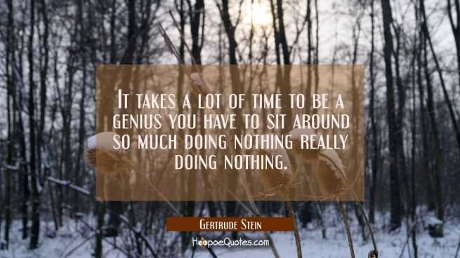 It takes a lot of time to be a genius you have to sit around so much doing nothing really doing not