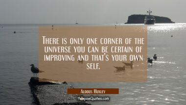 There is only one corner of the universe you can be certain of improving and that's your own self. Aldous Huxley Quotes