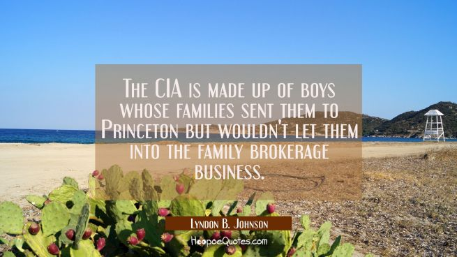 The CIA is made up of boys whose families sent them to Princeton but wouldn't let them into the fam