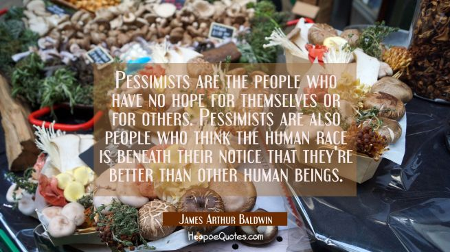 Pessimists are the people who have no hope for themselves or for others. Pessimists are also people