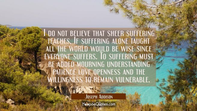 I do not believe that sheer suffering teaches. If suffering alone taught all the world would be wis