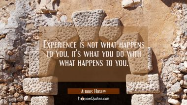 Experience is not what happens to you, it's what you do with what happens to you.