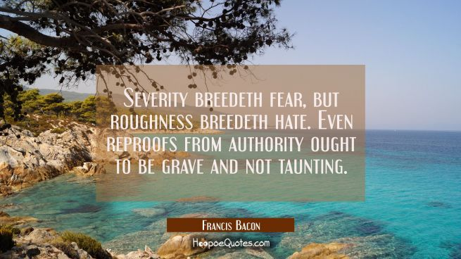 Severity breedeth fear but roughness breedeth hate. Even reproofs from authority ought to be grave