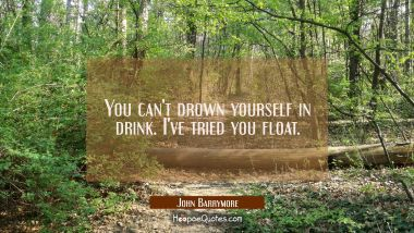 You can't drown yourself in drink. I've tried you float.