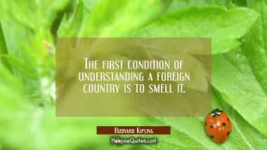 The first condition of understanding a foreign country is to smell it.