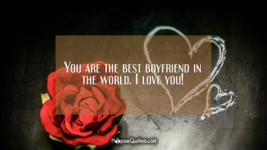 You are the best boyfriend in the world. I love you! I Love You Quotes