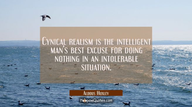 Cynical realism is the intelligent man's best excuse for doing nothing in an intolerable situation.