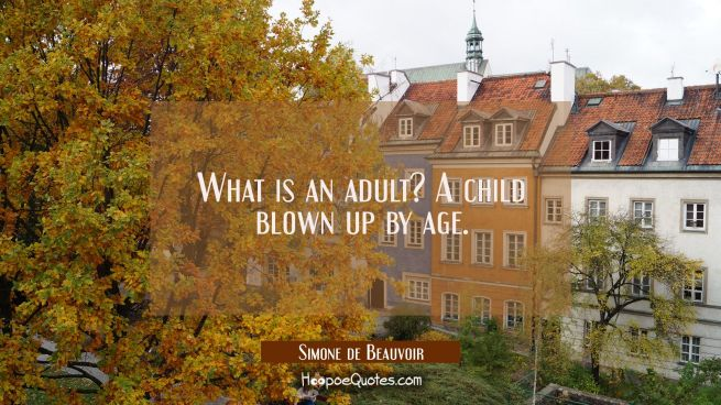 What is an adult? A child blown up by age.