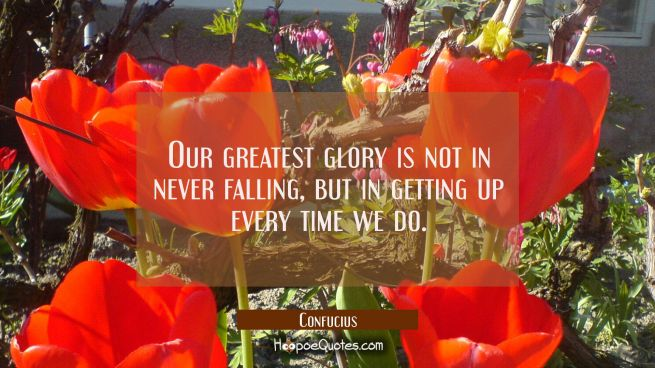 Our greatest glory is not in never falling but in getting up every time we do.