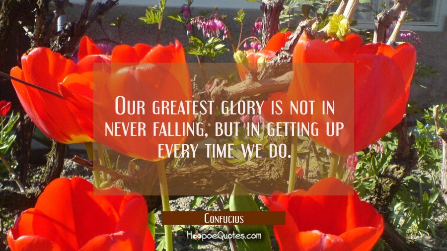 Our greatest glory is not in never falling but in getting up every time we do. Confucius Quotes