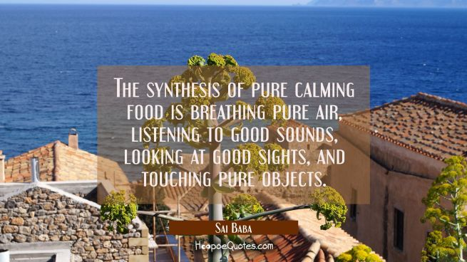 The synthesis of pure calming food is breathing pure air listening to good sounds looking at good s