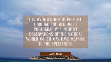 It is my intention to present - through the medium of photography - intuitive observations of the n