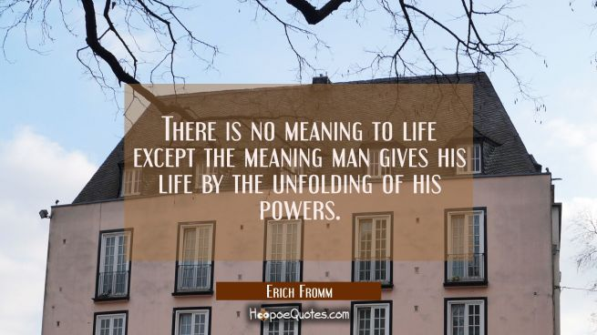 There is no meaning to life except the meaning man gives his life by the unfolding of his powers.