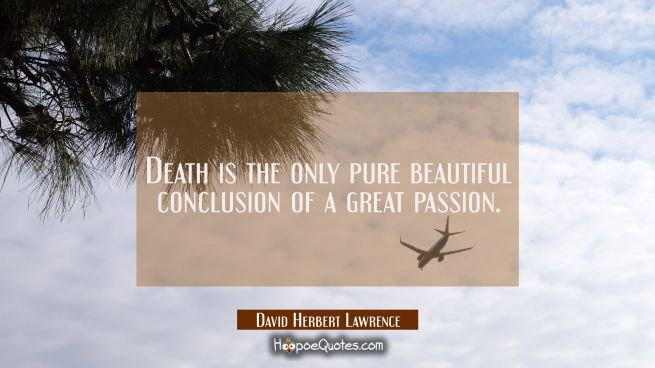 Death is the only pure beautiful conclusion of a great passion.