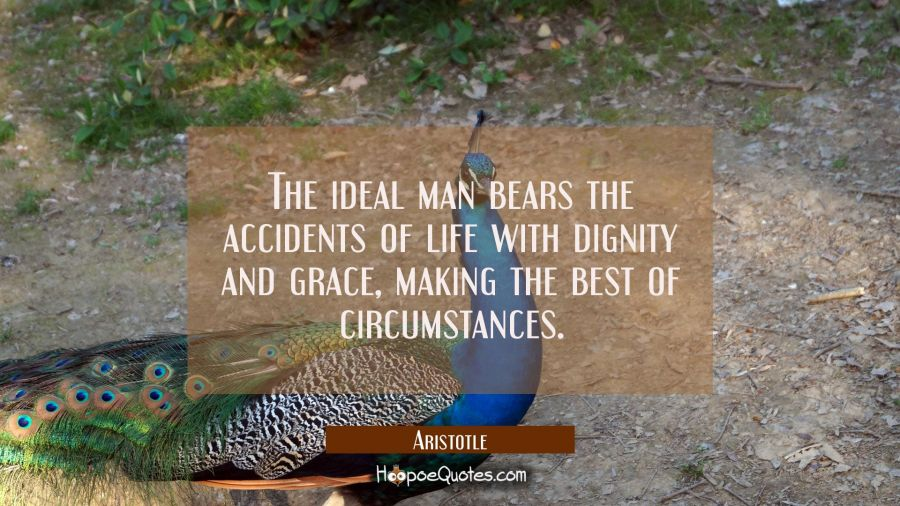 The ideal man bears the accidents of life with dignity and grace making the best of circumstances. Aristotle Quotes