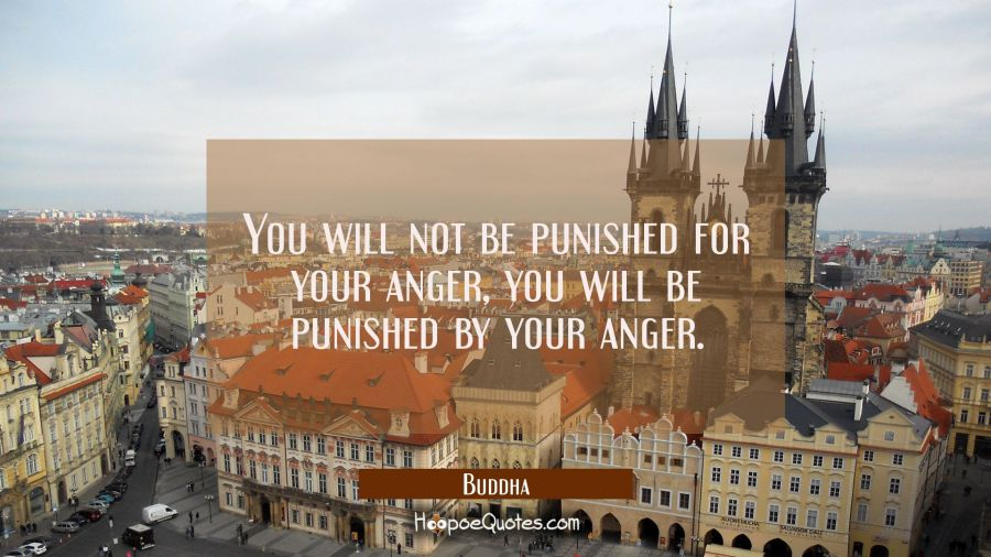 You will not be punished for your anger you will be punished by your anger. Buddha Quotes