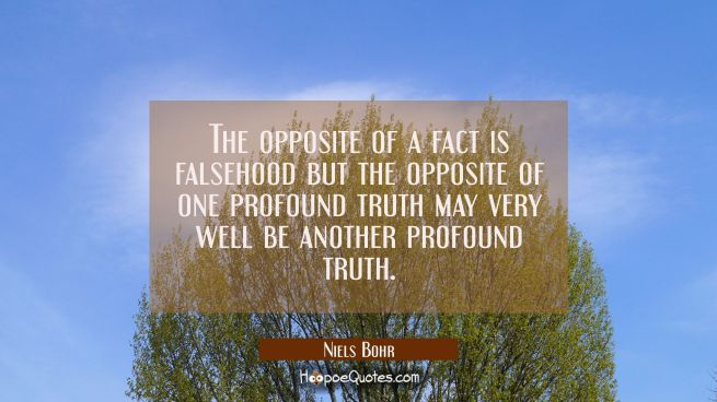 The opposite of a fact is falsehood but the opposite of one profound truth may very well be another