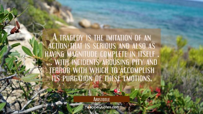 A tragedy is the imitation of an action that is serious and also as having magnitude complete in it