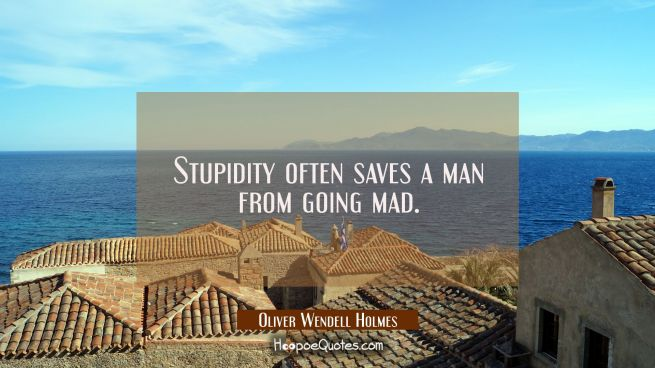 Stupidity often saves a man from going mad.