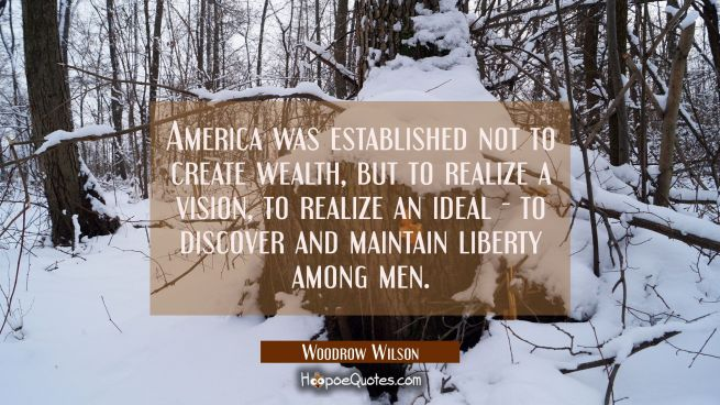 America was established not to create wealth but to realize a vision to realize an ideal - to disco