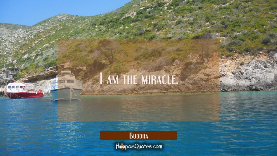 Inspirational Quote of the Day - I am the miracle. - Buddha