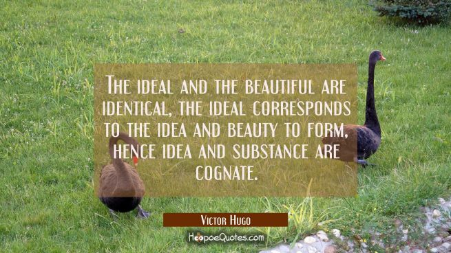 The ideal and the beautiful are identical, the ideal corresponds to the idea and beauty to form, he