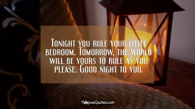 Tonight you rule your little bedroom. Tomorrow, the world will be yours to rule as you please. Good night to you.