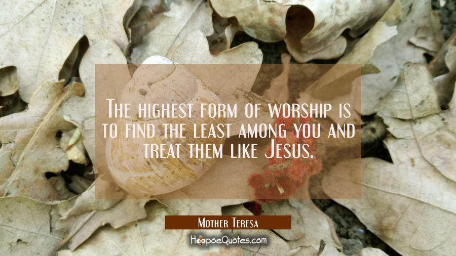 The highest form of worship is to find the least among you and treat them like Jesus. Mother Teresa Quotes