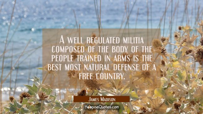 A well regulated militia composed of the body of the people trained in arms is the best most natura