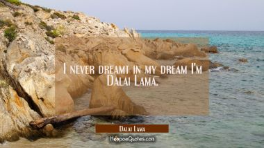 I never dreamt in my dream I'm Dalai Lama.