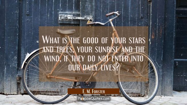 What is the good of your stars and trees your sunrise and the wind if they do not enter into our da