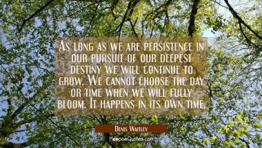 As long as we are persistence in our pursuit of our deepest destiny we will continue to grow. We ca