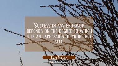 Success in any endeavor depends on the degree to which it is an expression of your true self.