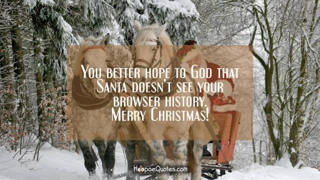 You better hope to God that Santa doesn't see your browser history. Merry Christmas!