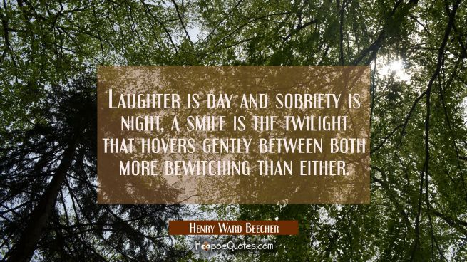 Laughter is day and sobriety is night, a smile is the twilight that hovers gently between both more