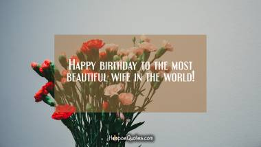 Happy birthday to the most beautiful wife in the world! Quotes