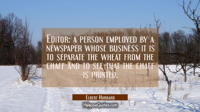 Editor: a person employed by a newspaper whose business it is to separate the wheat from the chaff