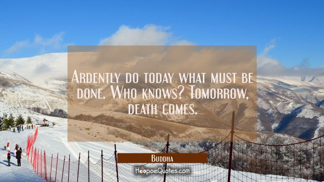 Ardently do today what must be done. Who knows? Tomorrow, death comes.