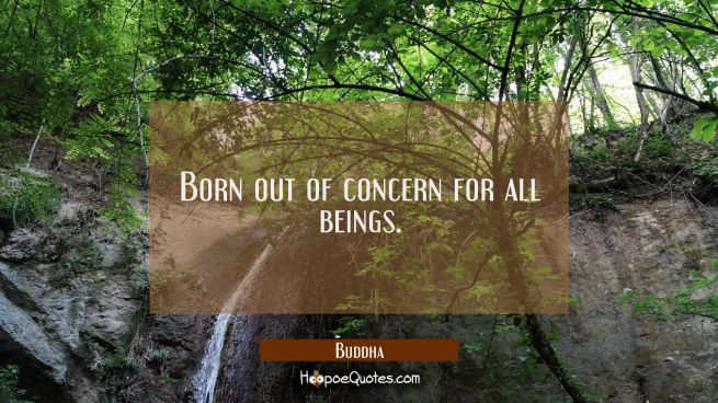 Born out of concern for all beings.
