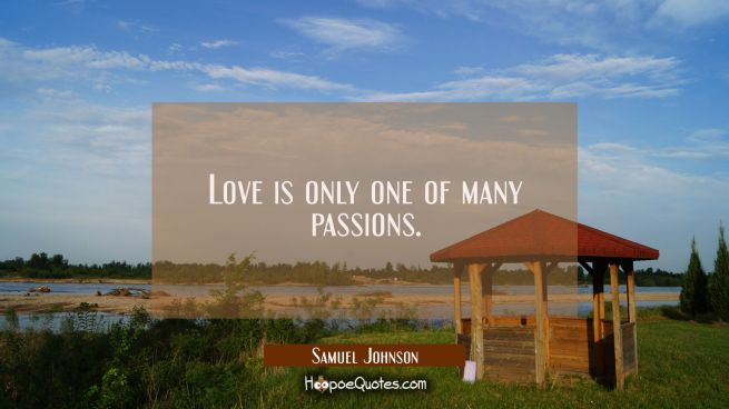 Love is only one of many passions.