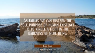As far as we can discern the sole purpose of human existence is to kindle a light in the darkness o Carl Jung Quotes