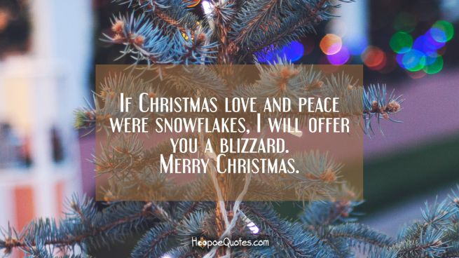 If Christmas love and peace were snowflakes, I will offer you a blizzard. Merry Christmas.