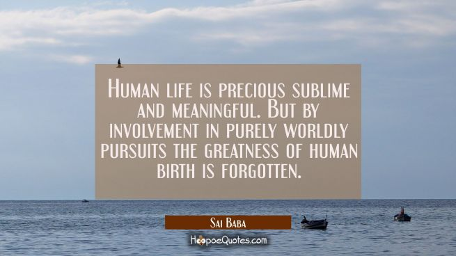 Human life is precious sublime and meaningful. But by involvement in purely worldly pursuits the gr