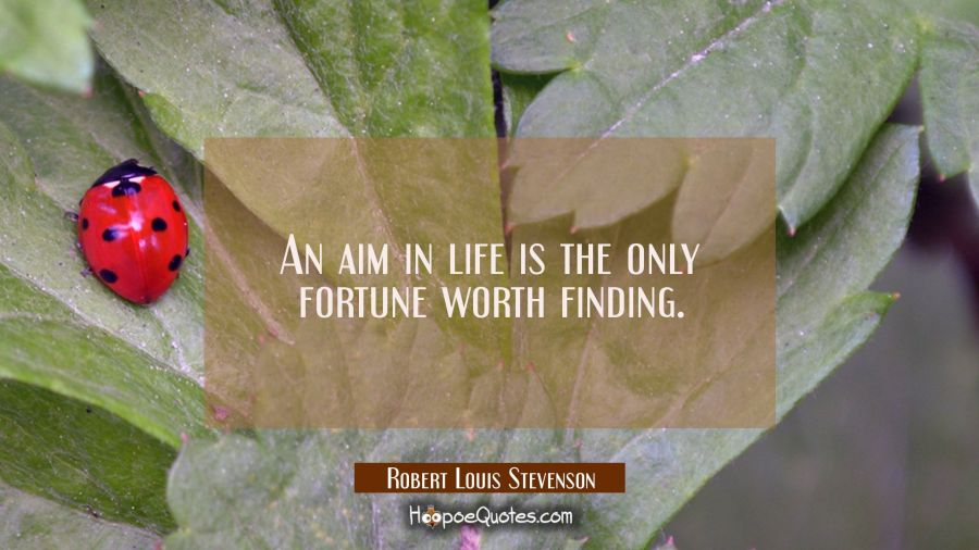 An aim in life is the only fortune worth finding. Robert Louis Stevenson Quotes
