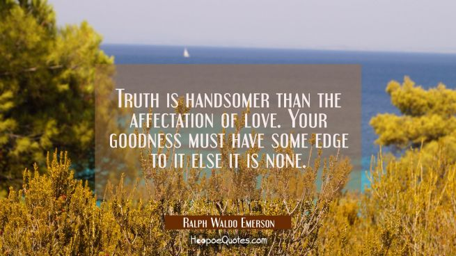 Truth is handsomer than the affectation of love. Your goodness must have some edge to it else it is