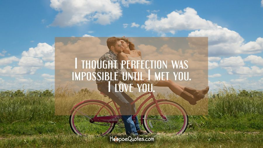 I thought perfection was impossible until I met you. I love you. I Love You Quotes